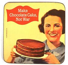 Coasters cool 'make CHOCOLATE CAKE, not war'