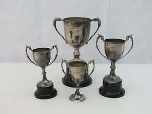 Job lot of 4 silver plate trophies collection of sporting cups with inscriptions