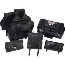 6pc Black Leather Motorcycle Bag Set Saddlebag Luggage Sissy Barrel Windshield