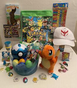 43PC Plush CHarmander Pokemon Easter Basket Cards Backpack Pokeball Baseball Cap