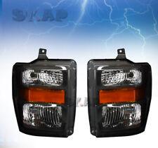 Fit 08-10 Ford F250/F350 Super Duty 1 Piece Headlight Black / Amber Reflector