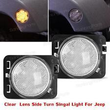 2x Clear Lens LED Fender Flare Turn Signal Side Marker Light For Jeep Wrangler