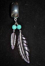 NWT WOMENS POLISHED SILVER SCARF RING/SLIDER W/TURQUOISE BEADS & SILVER FEATHERS