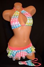 Exotic Dancer Stripper Sexy UV Glow Keyhole Top Ruffle Skirt Thong ~ Dancewear