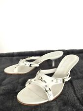 Authentic Christian Dior White Leather Slip On Sandals Shoes Heels, Size 37, 7