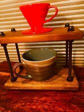 Rustic Hand Crafted Wood/Metal Pour Over Coffee Stand + BONUS FREE COFFEE DRIP!!