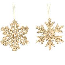 2 Festa Di Natale Elegante Oro Fiocchi Di Neve Appeso Tree Decorazioni Ornamenti