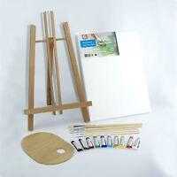 "Set 500mm 20"" Wooden Easel Acrylic Oil Watercolour Paints Brushes Wooden Palette"