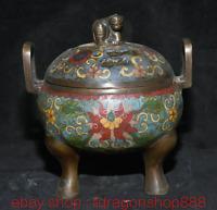 """6.4 """"Marqué Vieux Chine cloisonné émail bronze Fleur de Pixiu brûleur d'encens"""