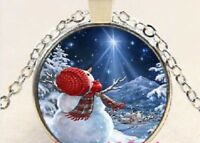 CHRISTMAS HOLIDAY SNOWMAN SNOW women mom pendant Silver necklace FREE $10 GIFT