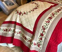 Luxury 100% Cotton Red Linen Spanish Floral Embroidered Quilted Throw Bedspread
