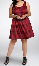 Torrid Red Black Brushed Plaid Skater Dress w/ belt Size:  14 aka 1X #35895