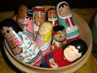 Vintage Rare Nesting Dolls in Wood Globe with 8 Different Countries Handpainted