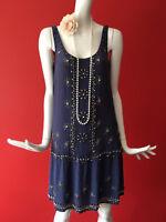 Warehouse Blue Silk Flapper 1920s Gatsby Charleston Beaded Silk Dress Size 8