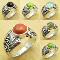 CHOICE OF SIZE, 925 Silver Plated PURPLE COPPER TURQUOISE & Other Gemstone Ring