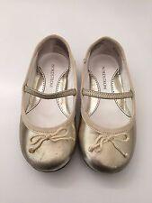 NORDSTROM Toddler Girls  Infant Gold Bow Ballet Flat Shoes Ballerina Size 7.5