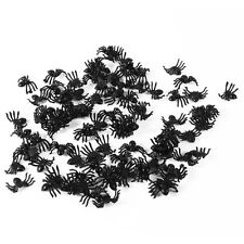 100pcs Plastic Black Spider Trick Toy Party Halloween Haunted House Prop Decor
