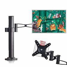 "10-32"" Inch Single LCD Monitor Swivel Arm Tilt Mount Bracket Clamp Base VESA"