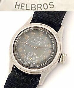 Vintage 1940s WW2 Helbros Belmar Mens Military Wristwatch Sterling Silver Black