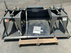 "NEW 72"" Solid Bottom HEAVY DUTY Dual Cylinder Bucket Grapple Skid Steer qkattach"
