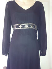 Vintage Laura Ashley Black Crepe Empire Line Silver Beaded Gown UK8 or 10  BNWT