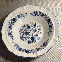 Hankook blue and white folk floral bowl vintage korea Serving bowl 12in