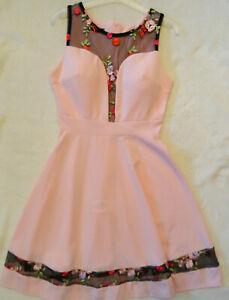 Neu traumhaftes Sommer Kleid G.S rosa Abend Party Tanz festlich Tülleinsatz