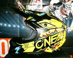 O'Neal Motocross Enduro Helm 3 SRS Villain 2.0 Neon Gelb L Neu Suzuki Fox Airoh