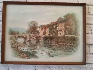 Vintage Watercolour Framed Print of Prince Llewelyn Hotel and Bridge Beddgelert