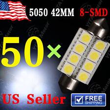 50 X White 42MM 5050 8SMD Festoon Dome Map Interior LED Light bulb 211-2 569