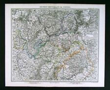 1875 Stieler Map Germany Metz Strassburg Baden Hessen Coblenz Frankfurt Mainz