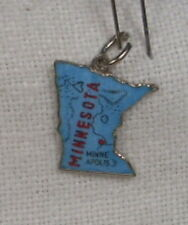 Vintage REU Sterling/Enamel Minnesota Map Charm Blue
