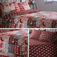 Red Duvet Covers Christmas Festive Patchwork Reversible Quilt Cover Bedding Sets