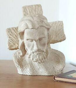 Belle Sculpture Buste CHRIST Pierre - A.Carroy 1947 -Sculpture Bust CHRIST Stone