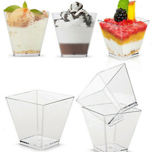 25/50/100 Mini Plastic 2oz Dessert Drink Shooters Jelly Cake Cup Party Wedding Y