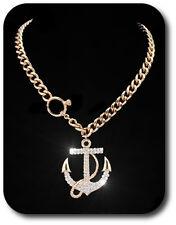 Halskette Kette Anhänger Anker  Collier Vergoldet Strass Chocker Statementkette