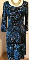NWT DANA BUCHMAN Womens Blue Watercolor 3/4 Sleeve Slinky Stretch Dress Small S