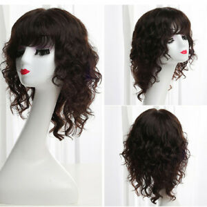 Human Hair Curly Wigs for Women Sexy Bangs Yaki Hair Shoulder Bob Top Full Wigs