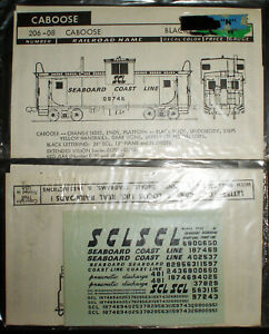 WALTHERS, SEABOARD COAST LINE, SCL, CABOOSE, N SCALE DECALS, 206080