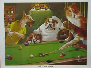 """Jack the Ripper"" Dog Ripping Pool Table Mid-Game 16x20 Poster"
