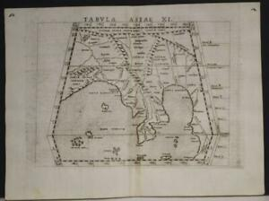 SOUTHEASTERN ASIA MALAY PENINSULA INDIA 1564 PTOLEMY/RUSCELLI SCARCE ANTIQUE MAP
