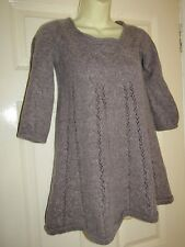 FRENCH CONNECTION GREY / LIGHT BROWN PART WOOL / ALPACA JUMPER - UK Size 12