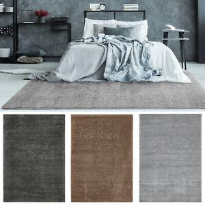 Webteppich Grau Hellgrau Braun Teppich Einfarbig Kurzflorteppich Wohnzimmer
