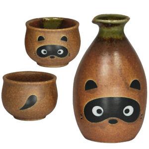 3 Pcs. Japanese Ceramic sake set TANUKI Raccoon Design/ Made in Japan