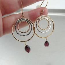 Hadar Designers 14k Gold Fil 925 Sterling Silver Red Garnet Hoop Earrings ()SALE