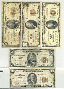 Complete denomination set $5, $10, $20, $50, $100 1929 Federal Reserve Banknotes
