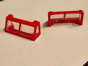 Front Fenster Lok Zug rot 2x6x2 inkl. Scheibe klar 2 Stück