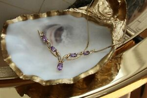 9ct yellow gold amethyst and diamond wishbone necklace on a snake chain 4.1g