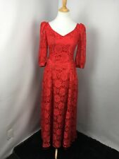 VTG 80s Prom Red LACE PUFFY BUBBLE SLEEVE Party Formal Bows Evening Dress Gown S