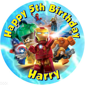 """Lego Avenger   7.5"""" , 2"""" , 1.5"""" ROUND EDIBLE ICING PRINTED CAKE TOPPER"""